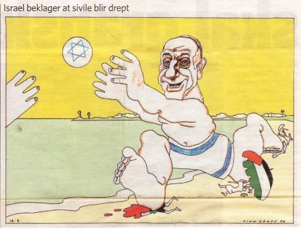 Ehud Olmert på Gaza strand