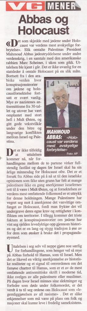VG- Abbas og Holocaust