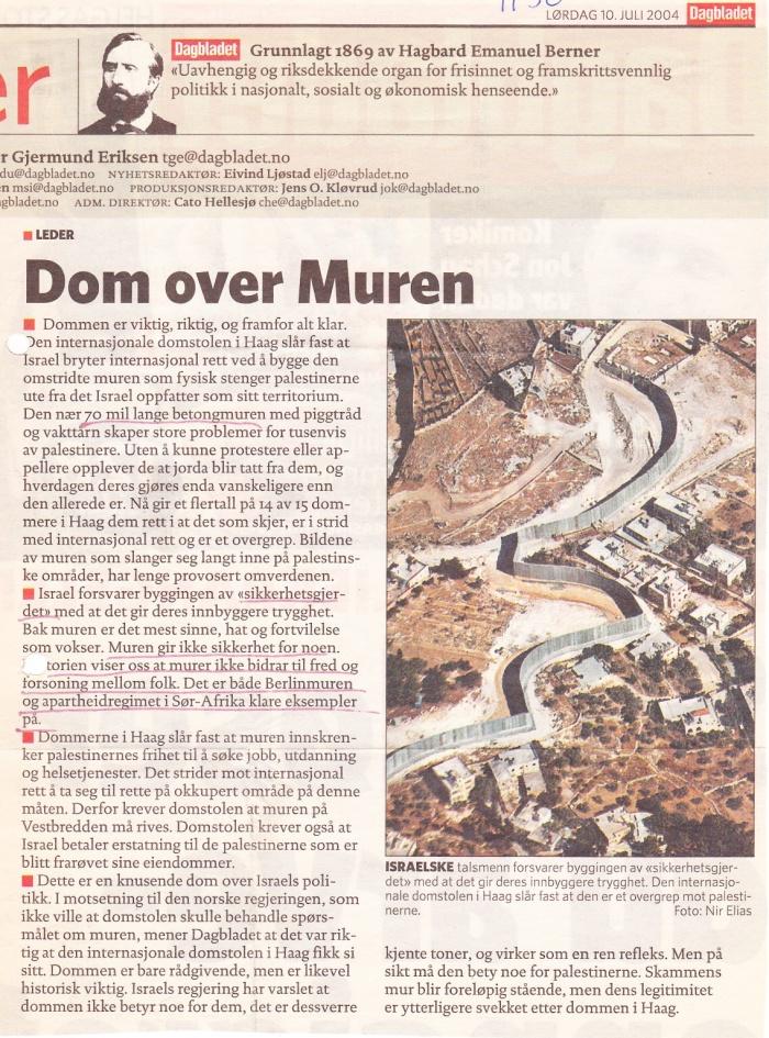 Dagbladet - Dommen over Muren