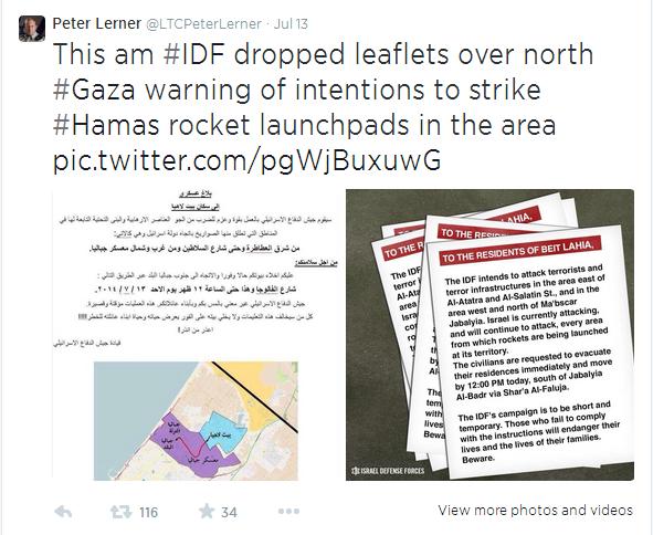 Flygeblader til nord-Gaza