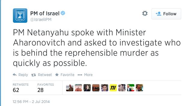 Netanyahus twitter melding1