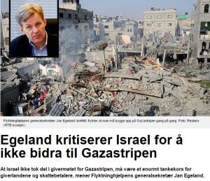 Jan Egeland kritiserer Israel okt14